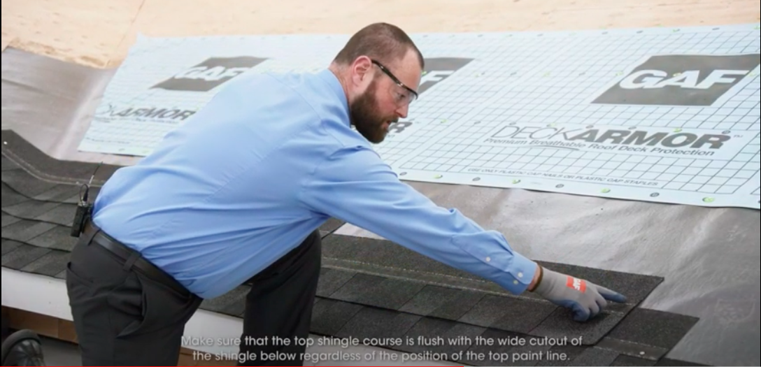 Roofer demonstrates how to install GAF Timberline Shingles with Layerlock Technology.