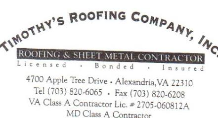Timothy's Roofing Co Inc